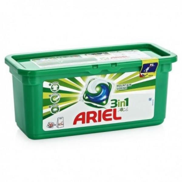 Ariel excel detergente tabs verde 3en1 28 u + 3 gratis