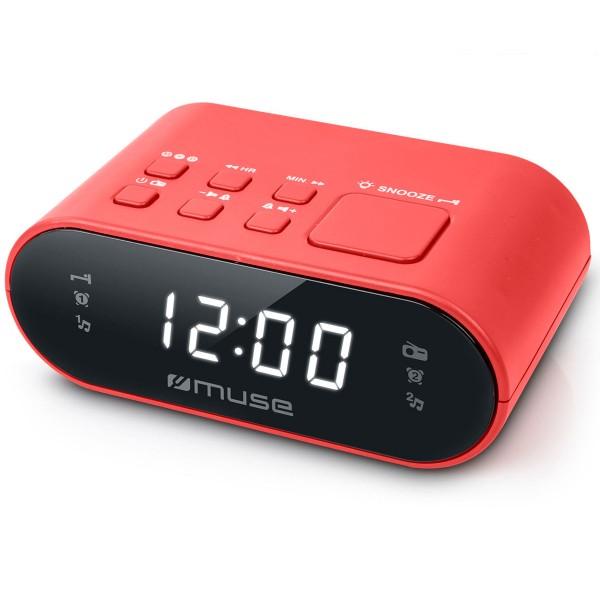 Muse m-10 rojo radio despertador fm con altavoz integrado