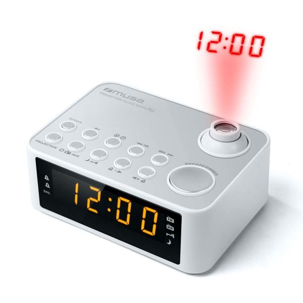 Muse m-178 pw blanco radio despertador am/fm con altavoz integrado y proyector de hora