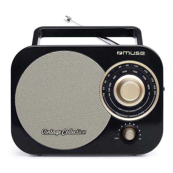 Muse m-055 rb negro oro radio analógica fm/am con altavoz integrado