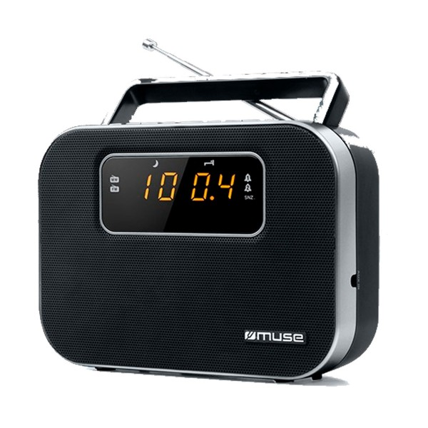 Muse m-081 r negro radio analógica fm/am portátil con altavoz integrado pantalla y batería