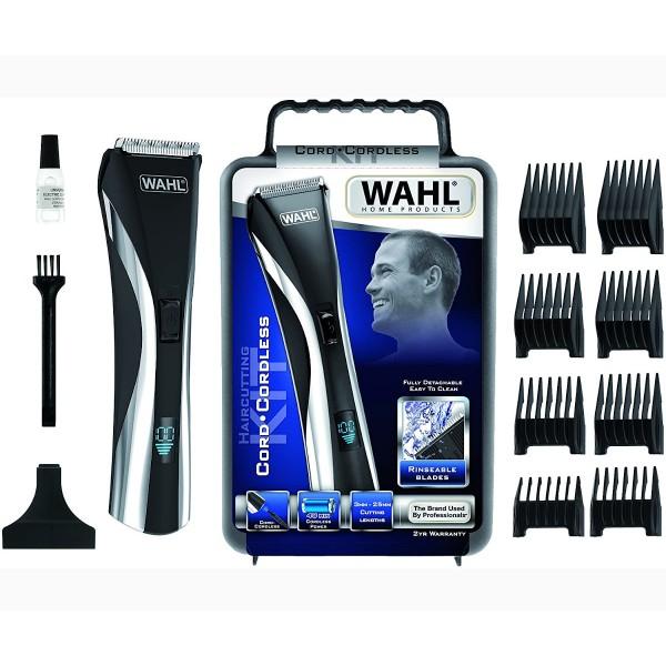 Wahl 9697-1016 kit cortapelos con y sin cable pantalla lcd de batería + 8 peines-guía