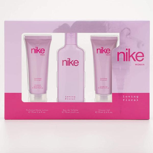 Nike Loving Floral Woman pack Loción Corporal 75 ml + EDT Deodorant 75 ml + Gel de Ducha 75 ml