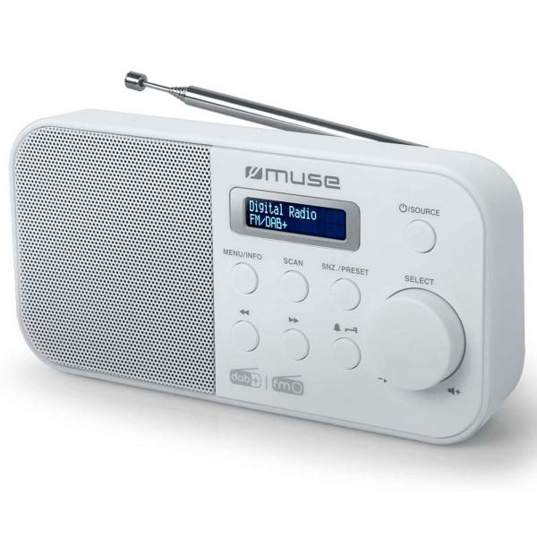 Muse m-109 dbw blanco radio dab+/fm portátil con altavoz integrado y pantalla