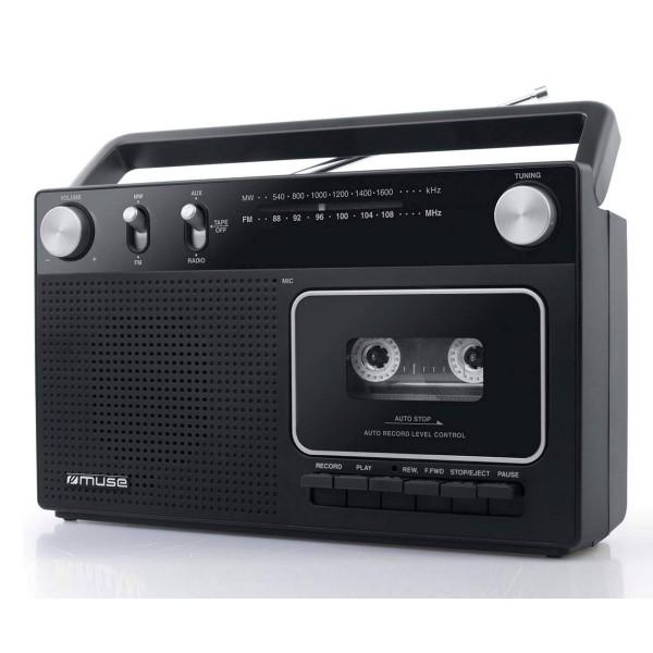 Muse m152r negro/radio fm/am/grabador de cassettes/entrada aux
